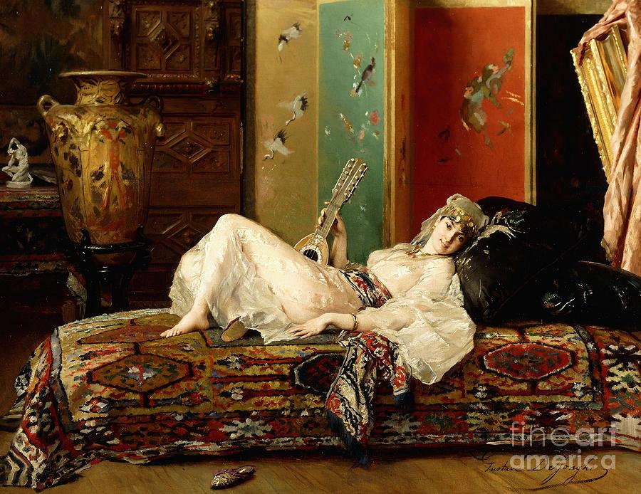 Harem Painting - A Reclining Odalisque by Gustave Leonard de Jonghe