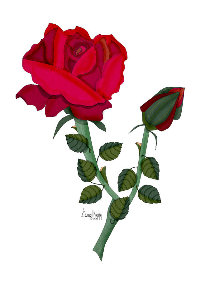 Rose Painting - A Red Rose Blooms In Winter by Anne Norskog