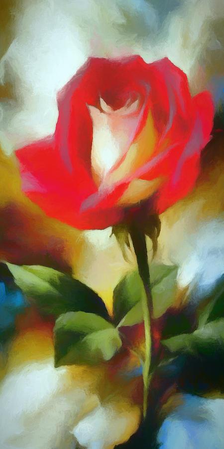 Long Stem Digital Art - A Red Rose For Amelia by Ronald Bolokofsky