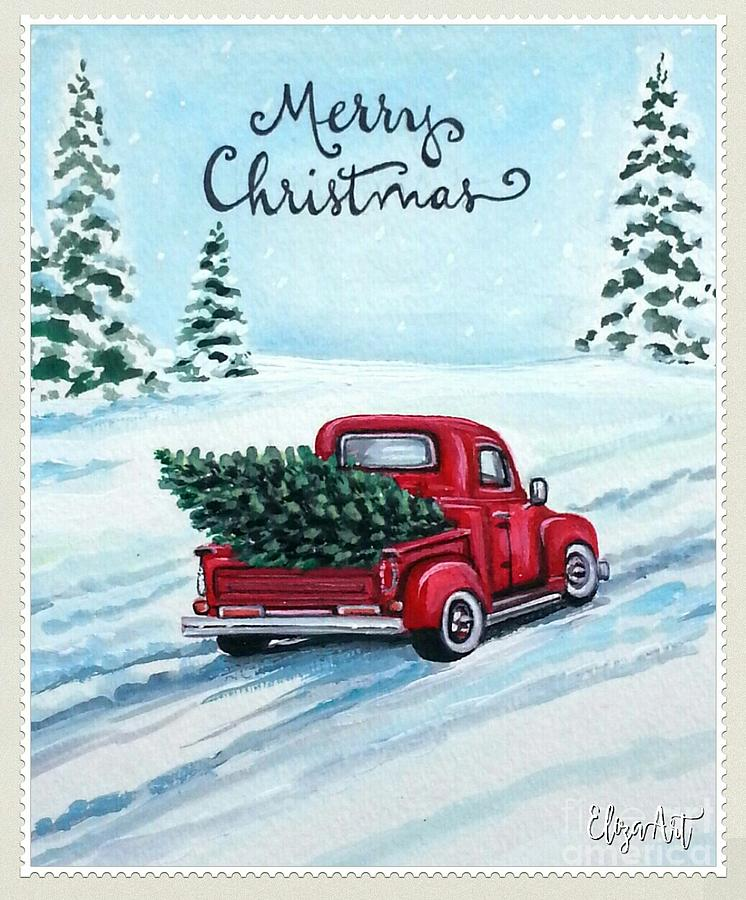 snow red truck christmas drawing pictures