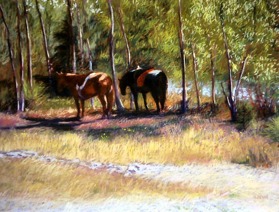 Pastel Painting - A Rest By The River by Mary McInnis