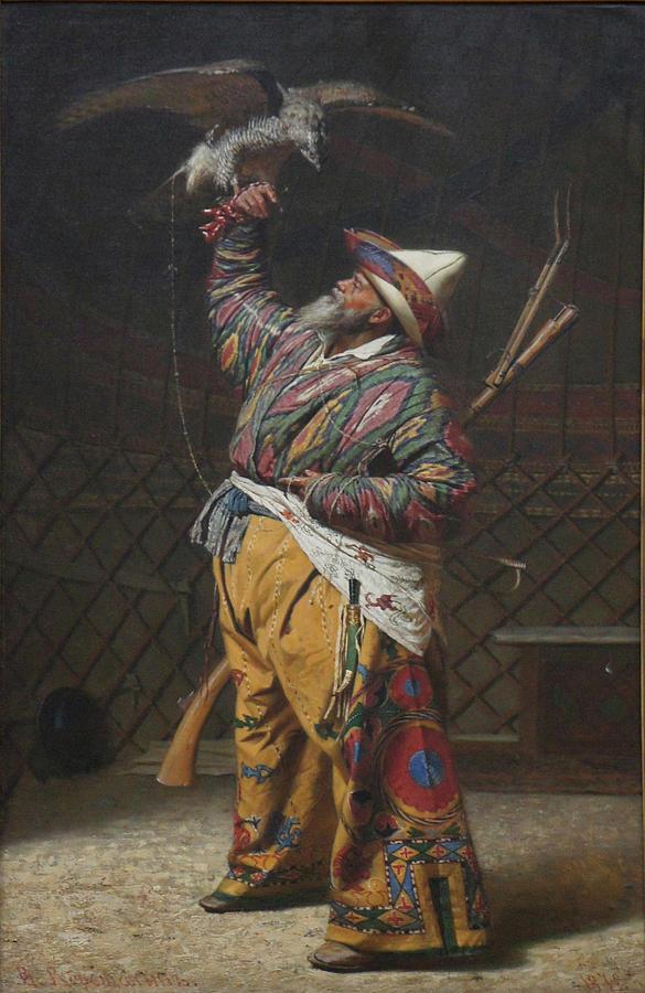 A Rich Kirghiz Huntsman with a Falcon Painting by Vasily Vereshchagin