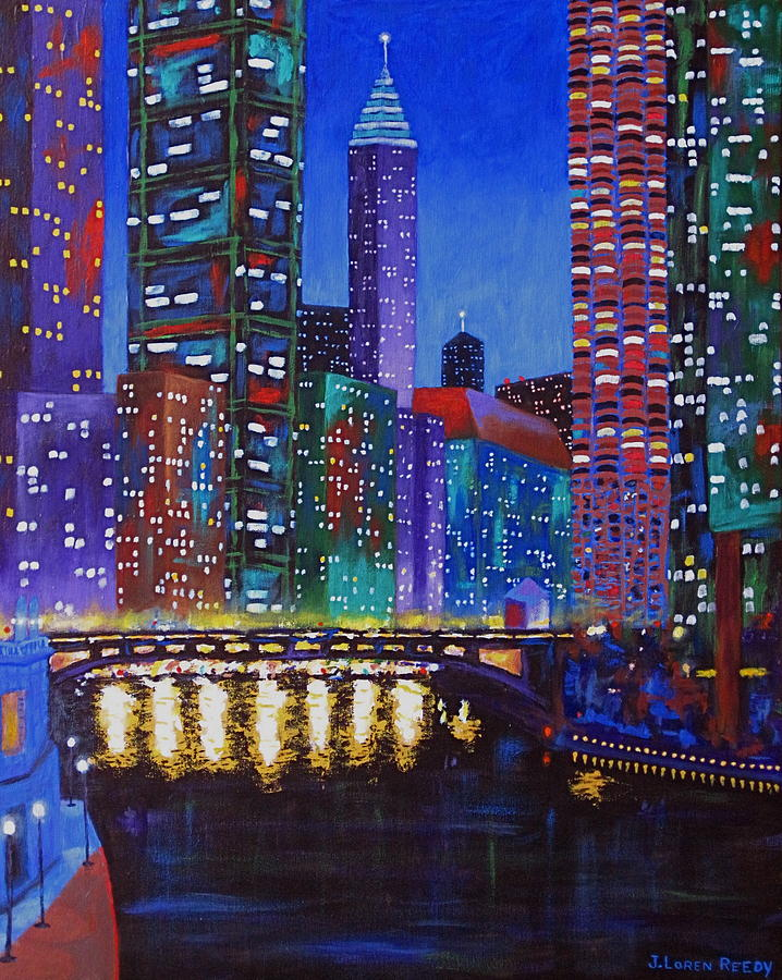 Chicago Painting - A River Runs Through It 2 by J Loren Reedy