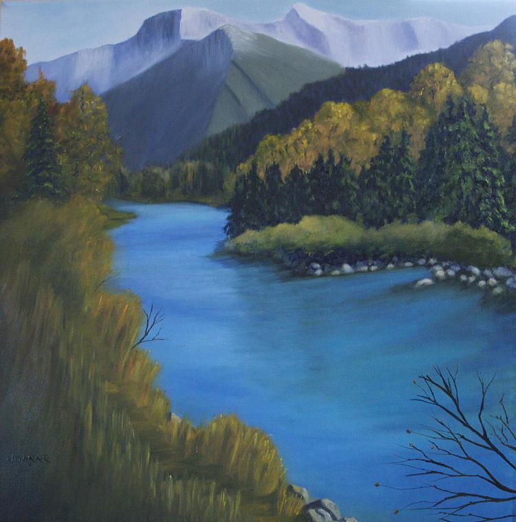 Landscape Painting - A River Runs Through It by Joanne Giesbrecht