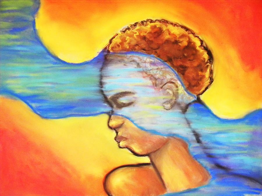 Woman Pastel - A River Runs Thru by Jan Gilmore