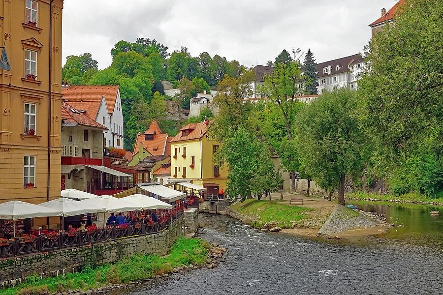 Cafe Photograph - A Riverside Cafe Along The Vltava River In The Czech Republic by Richard Rosenshein