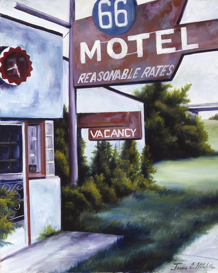 Motel; Route 66; Desert; Abandoned; Delapidated; Lost; Highway; Route 66; Road; Vacancy; Run-down; Building; Old Signage; Nastalgia; Vintage; James Christopher Hill; Jameshillgallery.com; Foliage; Sky; Realism; Oils Painting - A Road Less Traveled by James Christopher Hill