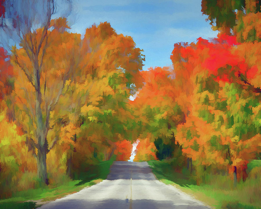 Autumn Colors Digital Art - A Road Less Traveled by Ronald Bolokofsky