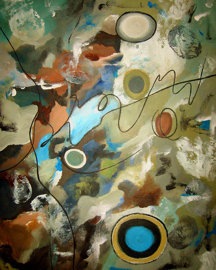 Abstract Painting - A Rolling Stone Gathers No Moss by Ruth Palmer
