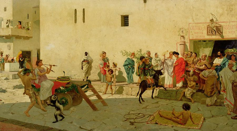 Rome Painting - A Roman Street Scene With Musicians And A Performing Monkey by Modesto Faustini