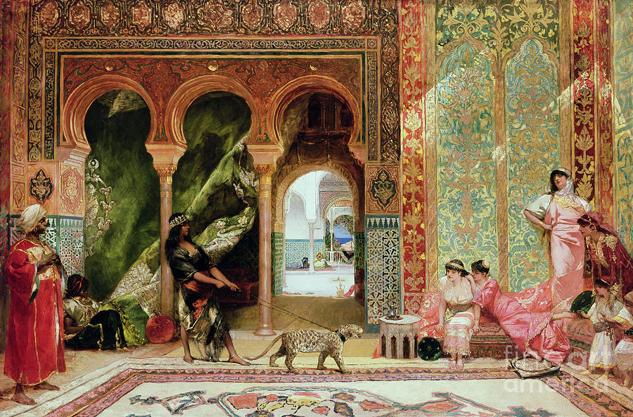 a royal palace in morocco painting by benjamin jean joseph constant. Black Bedroom Furniture Sets. Home Design Ideas