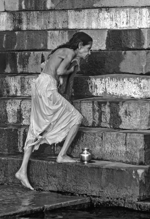 Varanasi Photograph - A Sacred Place Bw  by Steve Harrington