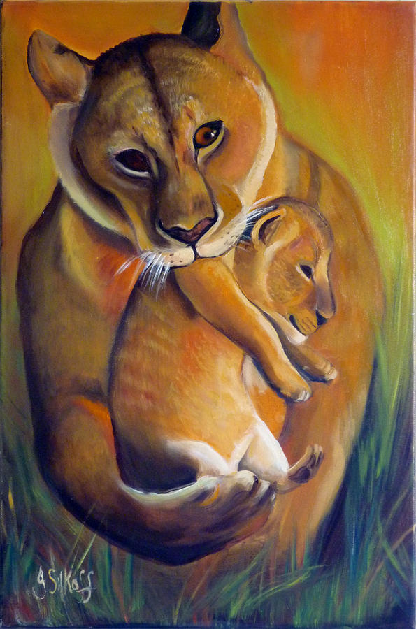 Tiger Painting - A Safer Place by Janet Silkoff