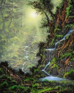 Forest Painting - A Sanctuary For My Heart by Victor Kirton