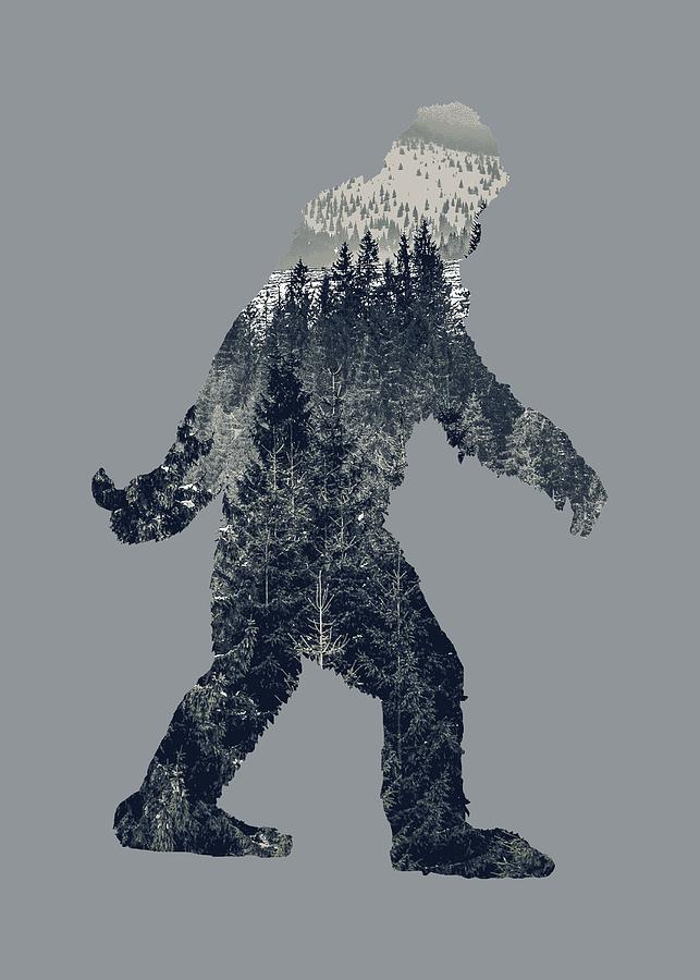 A Sasquatch Bigfoot Silhouette Hiking The Tundra Deep Forest