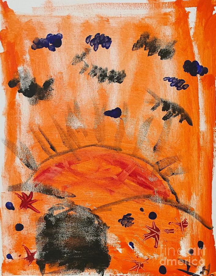 Abstract Painting - A Satisfying Sunset  by Wonju Hulse