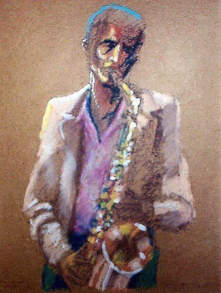 Saxophone Painting - A Saxophone Someplace Far Off Played by Tim Johnson
