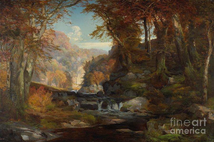 A Scene On The Tohickon Creek Painting by Thomas Moran