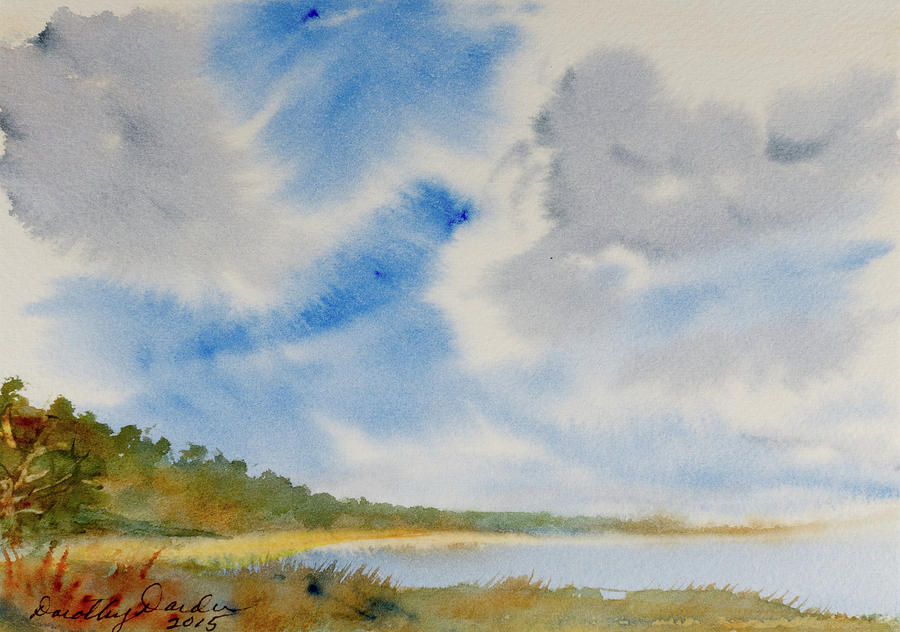A secluded Inlet beneath billowing clouds by Dorothy Darden