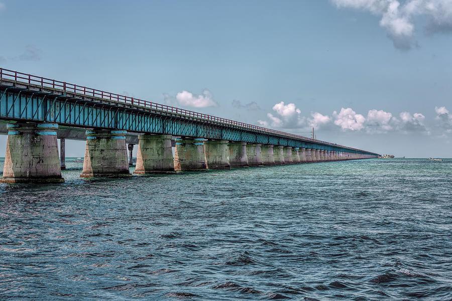 Architecture Photograph - A Section Of The Original Seven Mile Bridge by John M Bailey