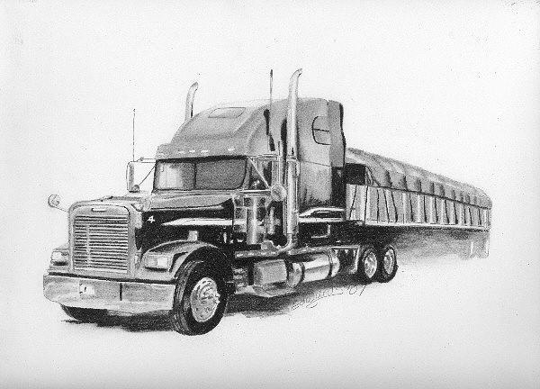 Semi Tractor Drawings : A semi drawing by wanda edwards