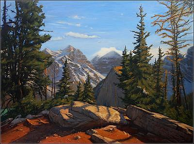 Landscape Painting - A Serene View Of Rockies by Dmitry Oivadis