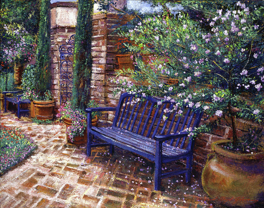 A shady resting place painting by david lloyd glover for Garden painting images