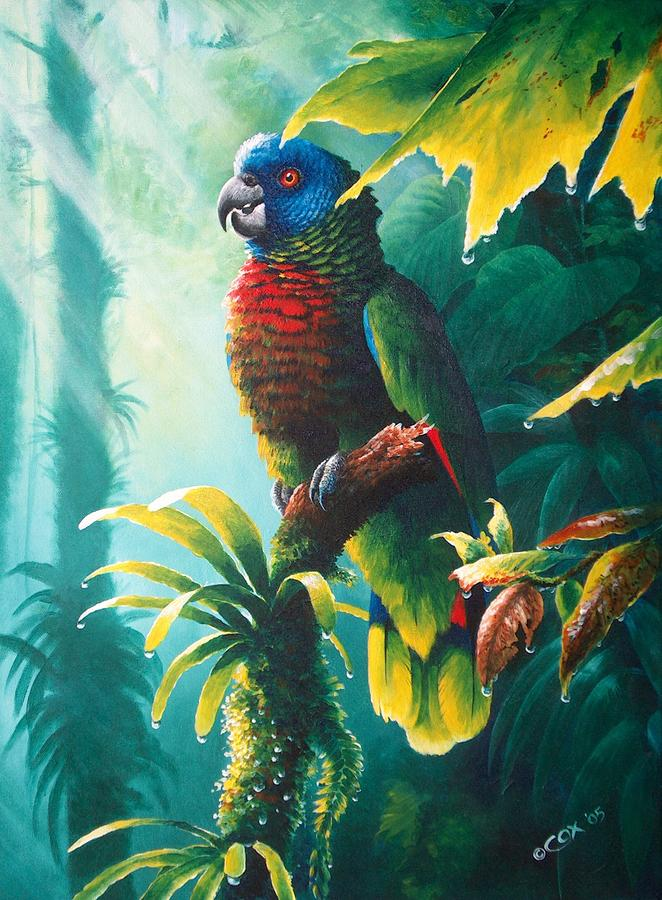 Chris Cox Painting - A Shady Spot - St. Lucia Parrot by Christopher Cox