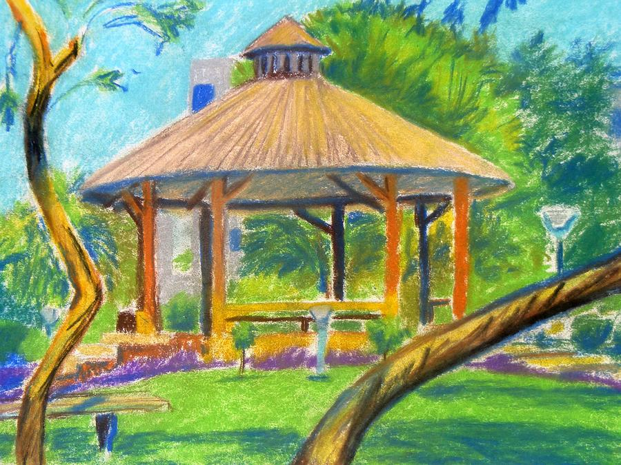 Landscape Painting - A Shelter In Neighbourhood Park by Naveen Wagh