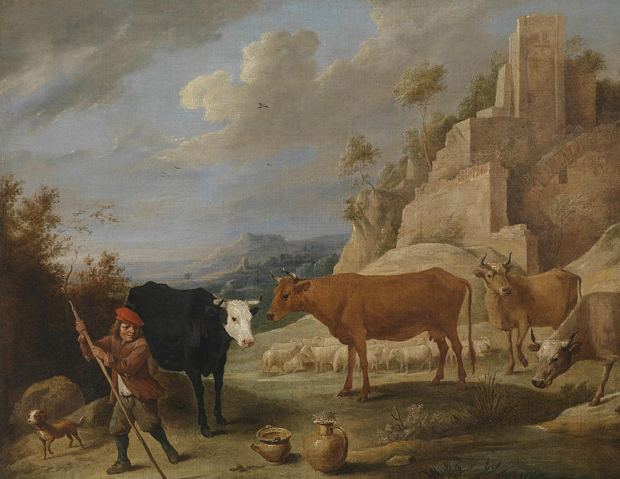 Flemish Painters Painting - A Shepherd With His Flock In A Landscape With Ruins by David Teniers the Younger