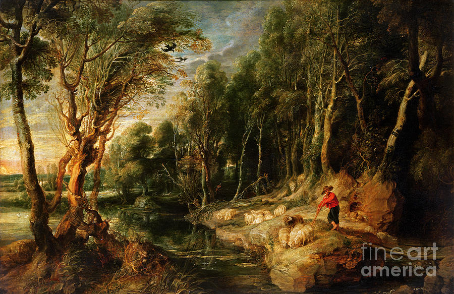 Shepherd Painting - A Shepherd With His Flock In A Woody Landscape by Rubens