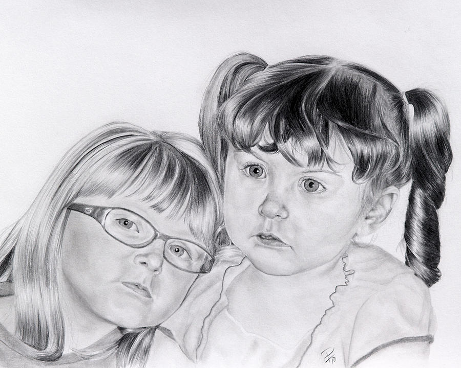 Little Girl Drawing - A Shoulder To Lean On  by Patrick Entenmann