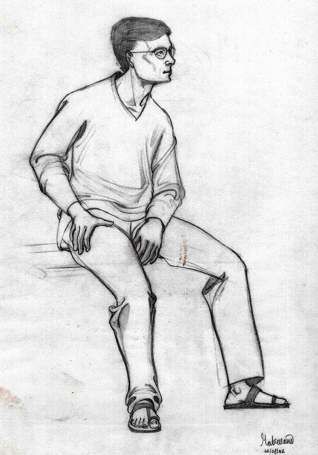 A sketch of a man sitting full figure  from right  front  by Makarand Joshi