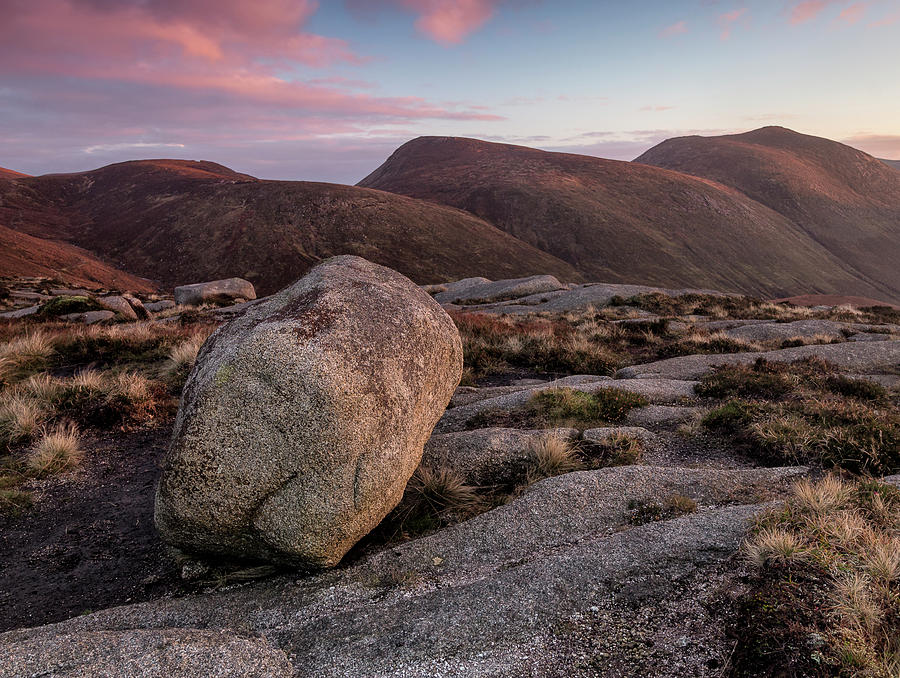 Autumn Photograph - A Slievenaglogh Rock in fading golden light  by Glen Sumner