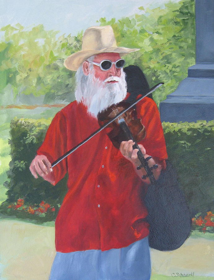 Slim Painting - A Slim Fiddler For Peace by Connie Schaertl