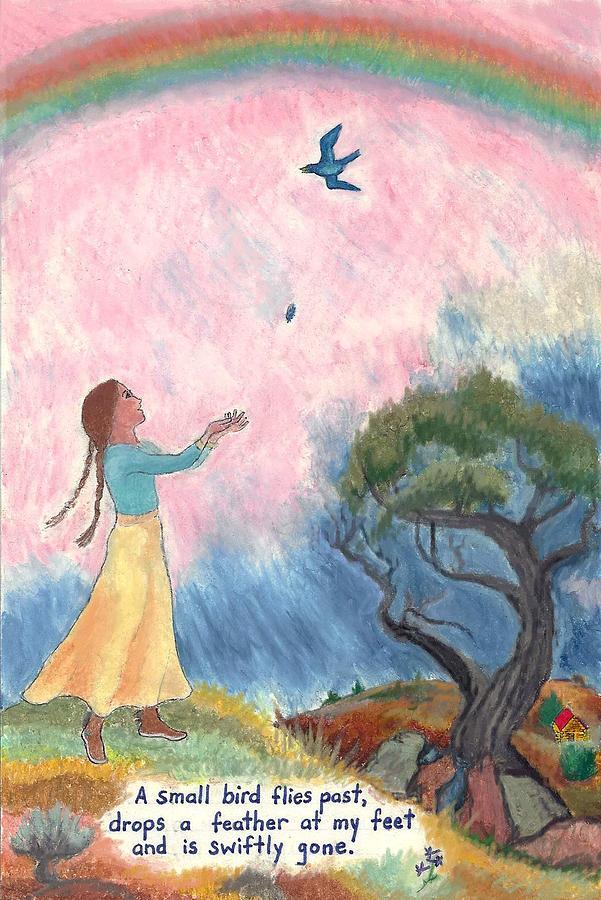 Bird Painting - A Small Bird Haiku And Illustration by Dawn Senior-Trask