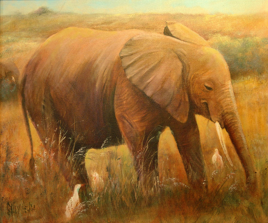 Jungle Animals Painting - A Smiling Baby by Sally Seago