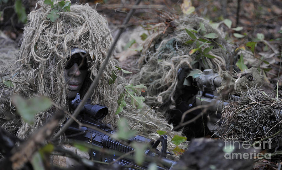 Color Image Photograph - A Sniper Team Spotter And Shooter by Stocktrek Images