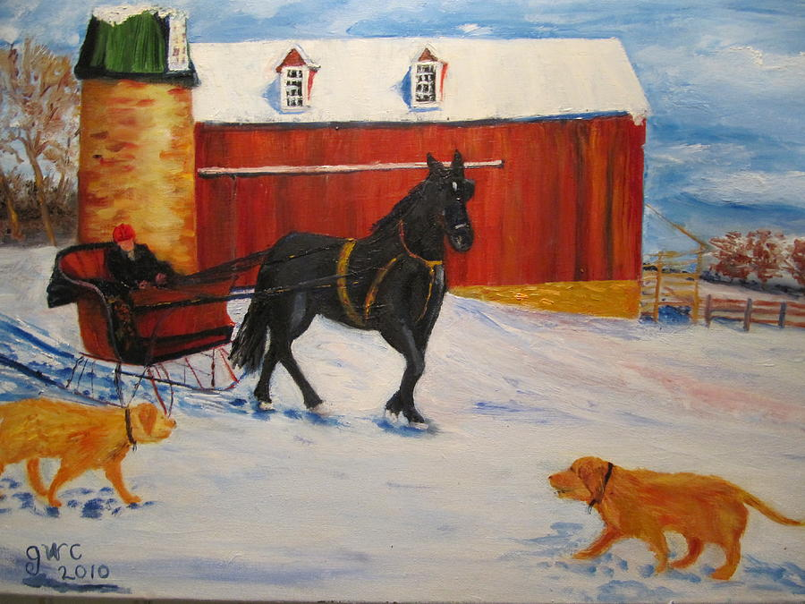 Horse Painting - A Snowy Sleigh Ride by Gloria Condon
