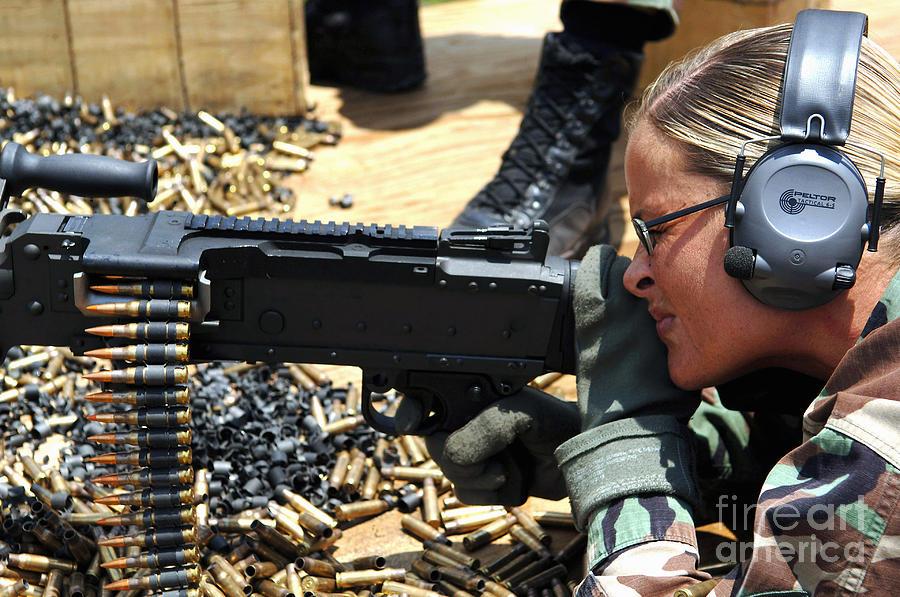 Color Image Photograph - A Soldier Fires An M240b Medium Machine by Stocktrek Images