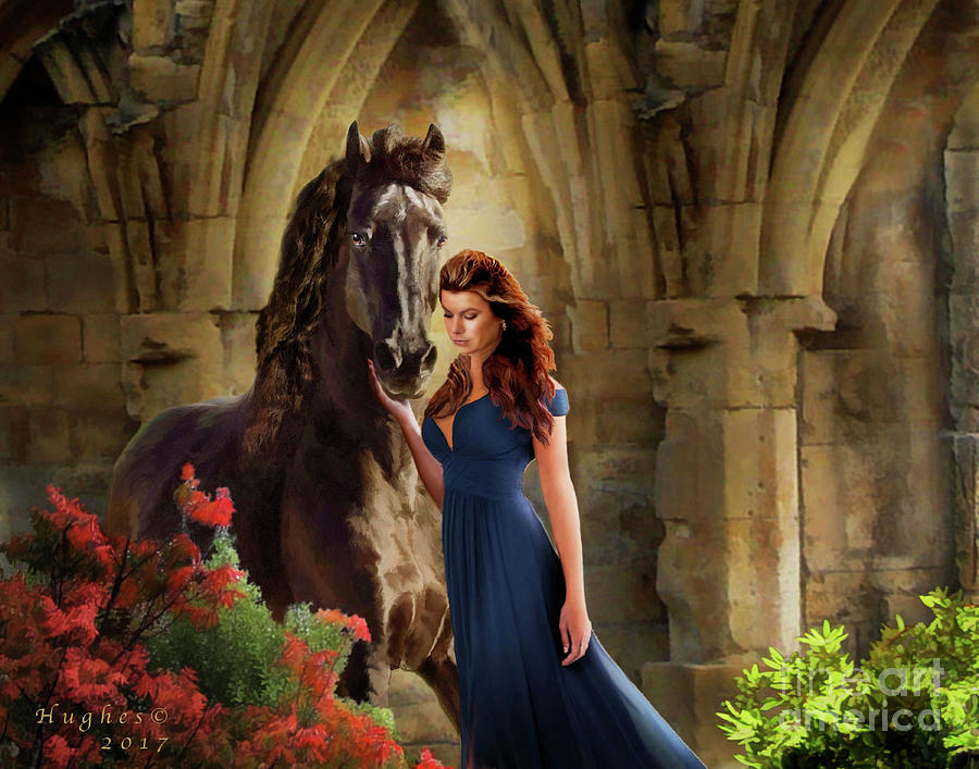 Friesian Digital Art - A Spanish Night by Melinda Hughes-Berland
