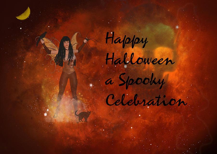 Card Digital Art - A Spooky, Space Halloween Card by Rosalie Scanlon