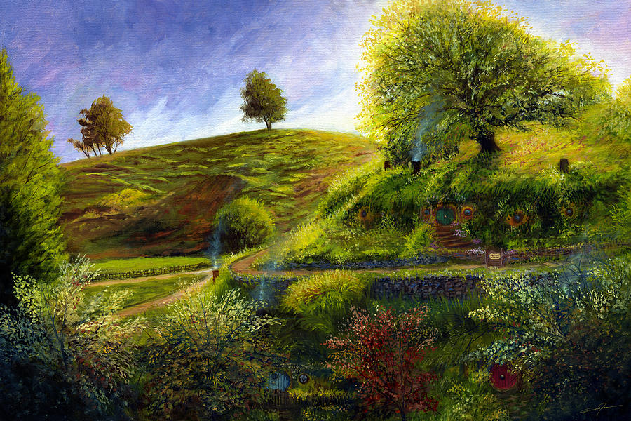 Hobbiton Painting - A Spring Morning at Bag End by Dale Jackson