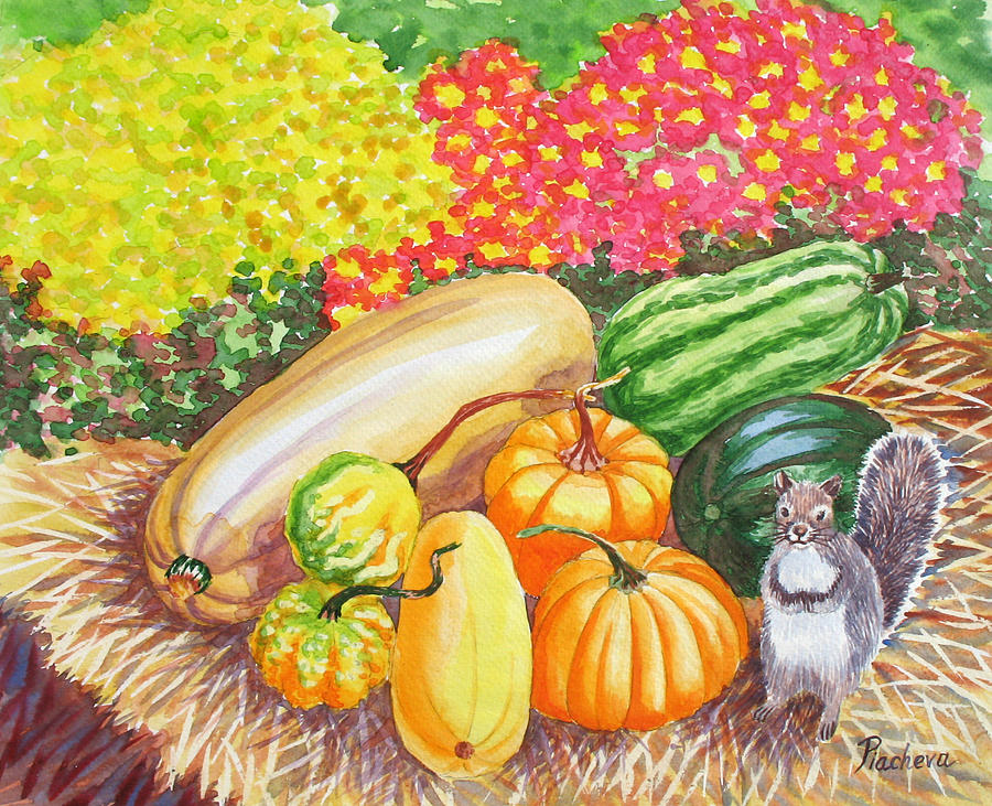 Watercolor Painting - A Squirrel And Pumpkins.2007 by Natalia Piacheva