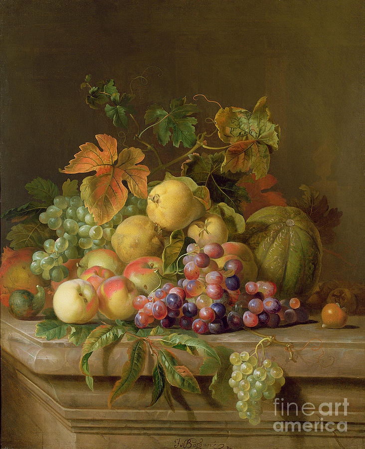 Still Painting - A Still Life of Melons Grapes and Peaches on a Ledge by Jakob Bogdani