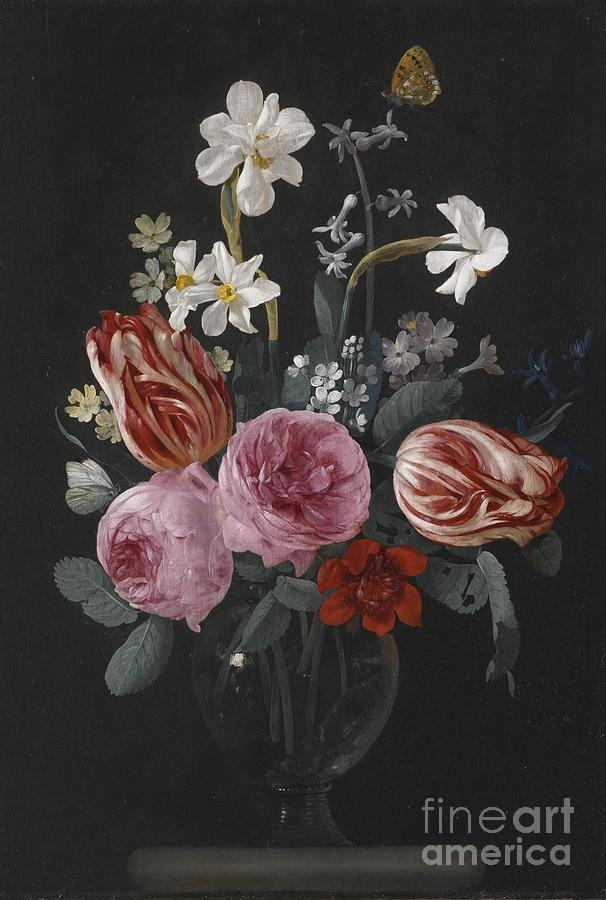 Roses Painting - A Still Life Of Tulips, Roses, Daffodils And Other Flowers, With Butterflies, by Celestial Images