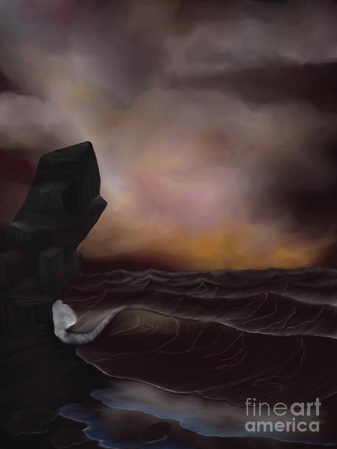 Sea Digital Art - A Stormy Ocean by Alisha at AlishaDawnCreations
