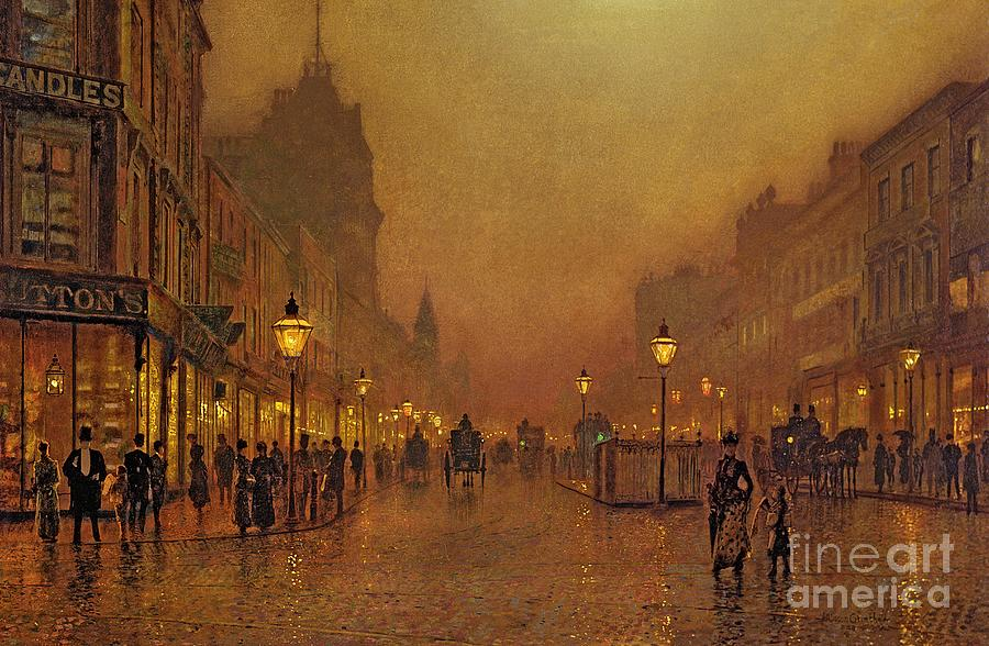 A Street At Night (oil On Panel) By John Atkinson Grimshaw (1836-93) Painting - A Street At Night by John Atkinson Grimshaw