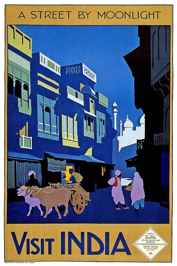 Blue Painting - A street in India by moonlight - Vintage Travel Advertising Poster by Studio Grafiikka