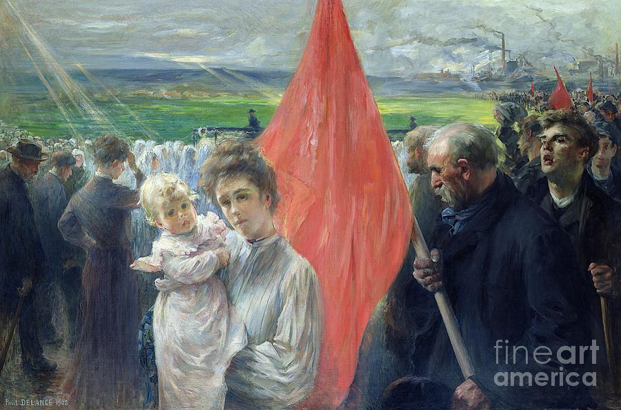 Crowd Painting - A Strike At Saint Ouen by Paul Louis Delance